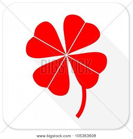 four-leaf clover red flat icon with long shadow on white background