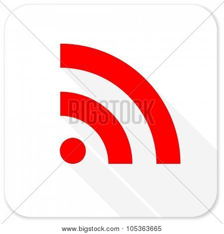 rss red flat icon with long shadow on white background