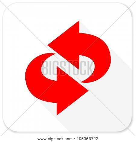 rotation red flat icon with long shadow on white background