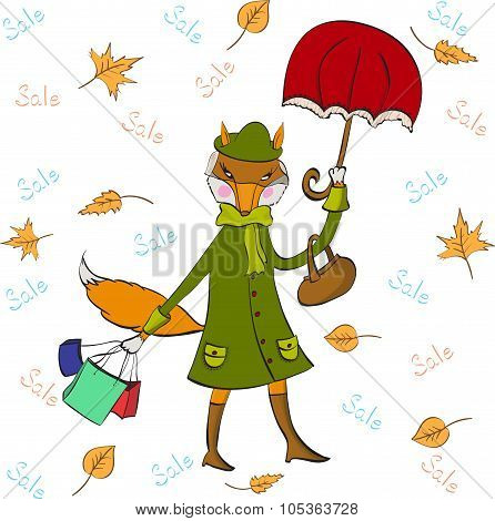 Coupon for autumn sale with funny fox