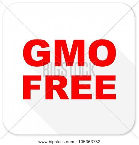 gmo free red flat icon with long shadow on white background