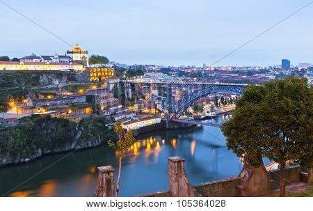 Evening View Of Dom Luis I Bridge And Duoro River, Porto, Portugal