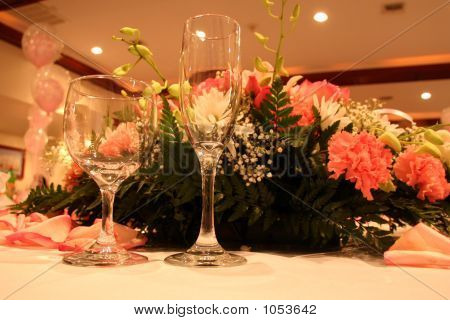 Glasses On Party Table