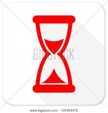 time red flat icon with long shadow on white background