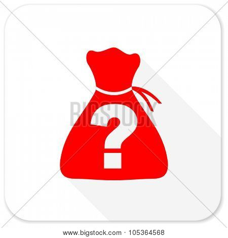 riddle red flat icon with long shadow on white background