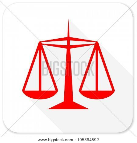 justice red flat icon with long shadow on white background