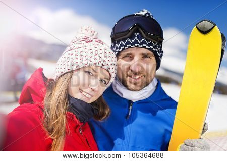 Young couple skiing