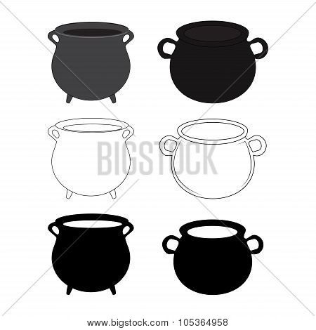 Empty Witch Cauldron, Pot Set. Cartoon Vector Illustration Isolated On White Background.