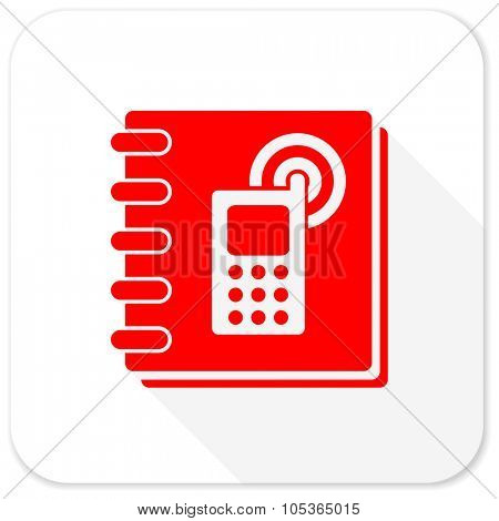 phonebook red flat icon with long shadow on white background