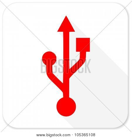 usb red flat icon with long shadow on white background