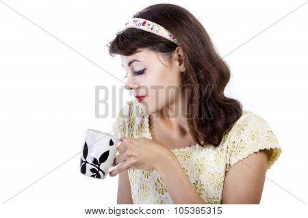 Retro Girl Drinking Hot Coffee