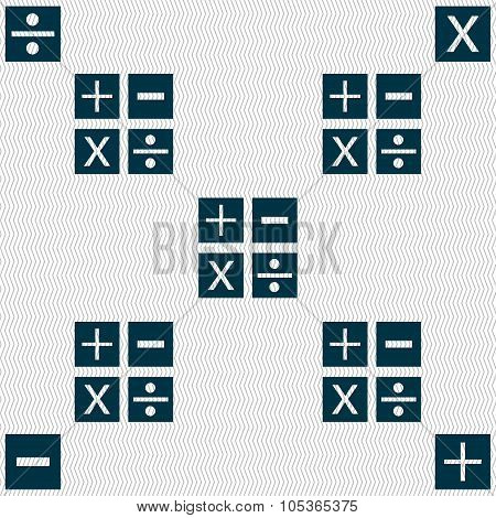Multiplication, Division, Plus, Minus Icon Math Symbol Mathematics. Seamless Abstract Background Wit