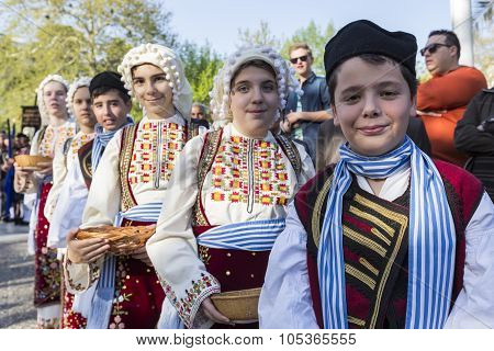 Folk Dancers From The Crete Club At The Parade In Thessaloniki, Greece.