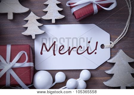 Christmas Label Gift Tree Merci Means Thank You