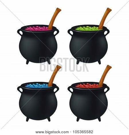 Witch Cauldron With Colorful Potion, Bubbling Witches Brew. Realistic Vector Illustration Isolated O