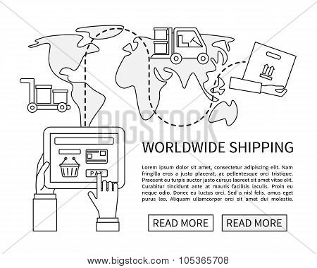 Worldwide shipping and delivery, online shopping.
