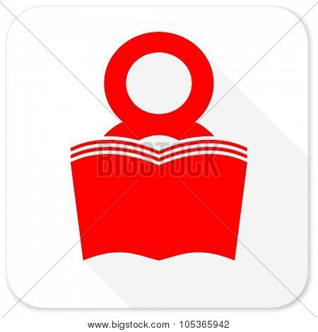 book red flat icon with long shadow on white background