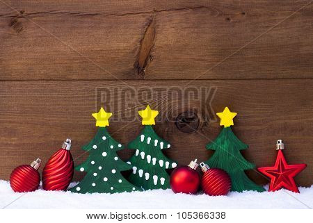 Christmas Card With Green Trees And Red Balls, Snow