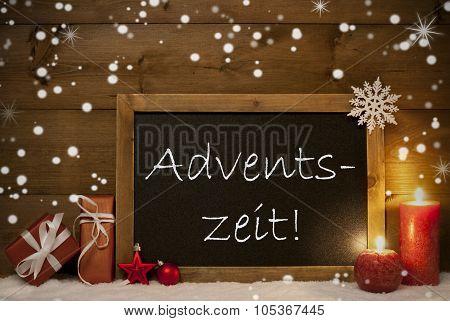 Card, Blackboard, Snowflakes, Adventszeit Mean Christmas Time