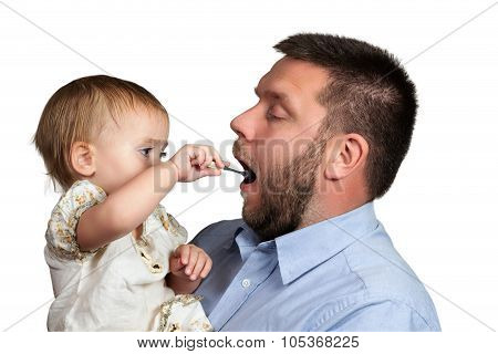 Daughter feeding his father