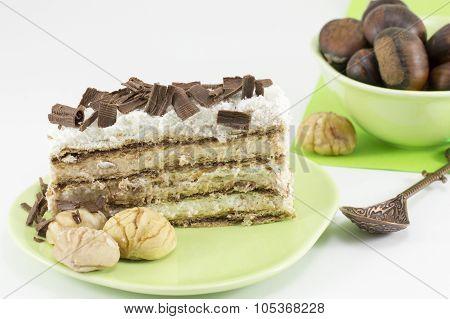 Chestnut Cake Slice On A Green Plate