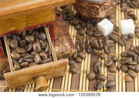 Coffee Time. Coffee Beans In All Grinder Drawer