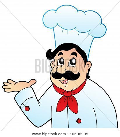 Cartoon Chef In Big Hat