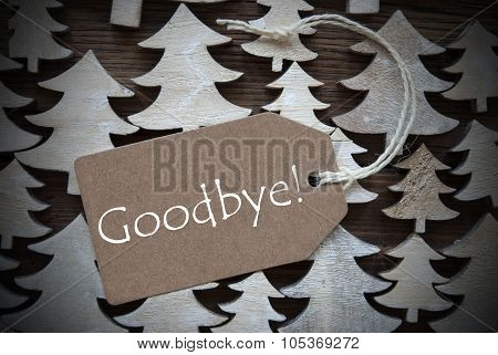Brown Christmas Label With Goodbye
