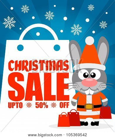 Christmas Sale Background With Rabbit Vector