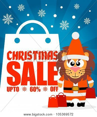 Christmas sale background with lion vector