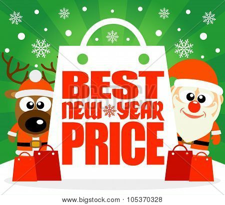 Best New Year Price card with deer and Santa