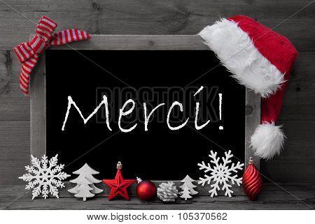 Blackboard Santa Hat Christmas Decoration Merci Means Thank You