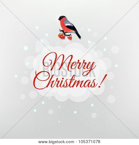 Christmas Poster With Bird With Gradient Mesh, Vector Illustration