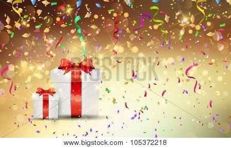 Christmas gift background with confetti and streamers