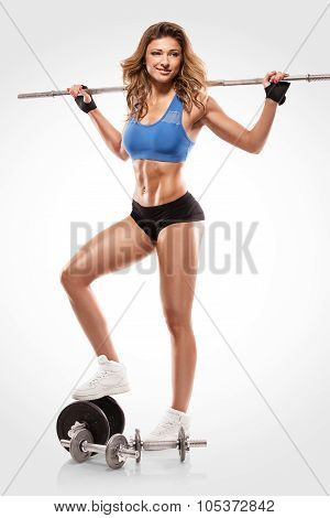 Nice Sexy Woman Doing Workout With Big Dumbbell, Retouched