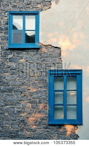 Ancient window of old building in Quebec City
