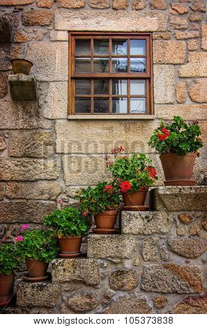 Rural house facades decorated with old vases of flowers