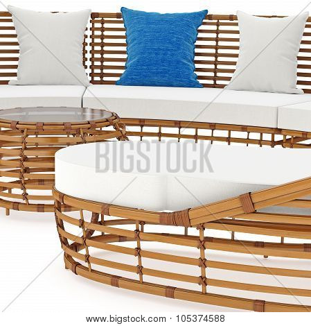 Sofa with thick rattan, zoomed view. 3D graphic