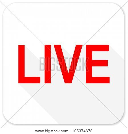live red flat icon with long shadow on white background