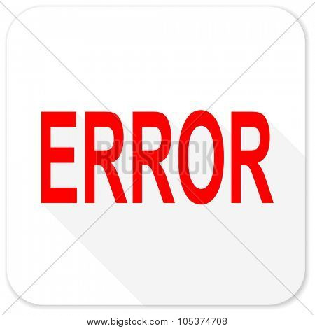 error red flat icon with long shadow on white background