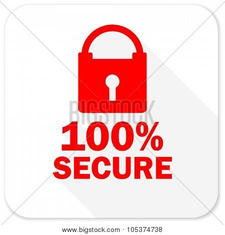 secure red flat icon with long shadow on white background