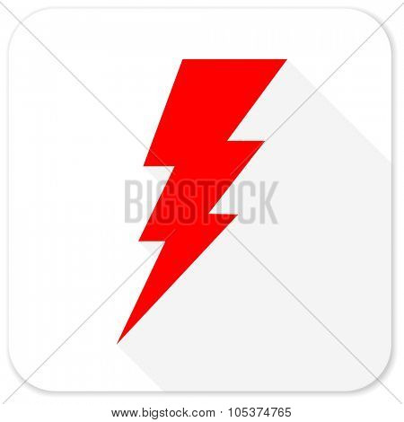 bolt red flat icon with long shadow on white background