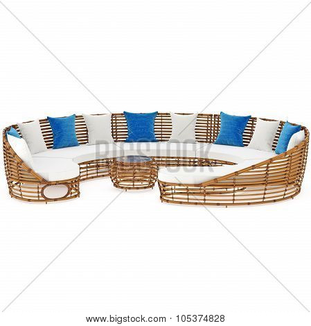 Rattan sofa, front view. 3D graphic