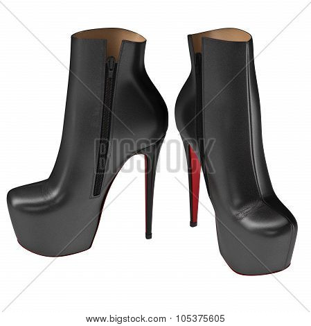 Black patent leather shoes with zipper. 3D graphic