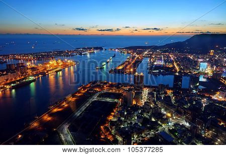 Beautiful View Of Kaohsiung Port At Evening Time
