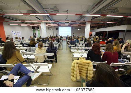 RUSSIA, MOSCOW -?? 07 DEC, 2014: Audience listen speaker during Open Doors Day in British high school of design.