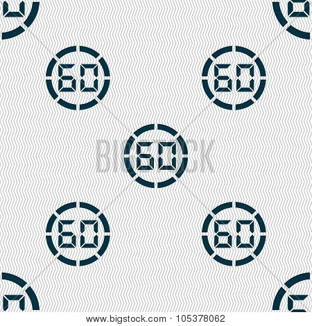 60 Second Stopwatch Icon Sign. Seamless Abstract Background With Geometric Shapes. Vector