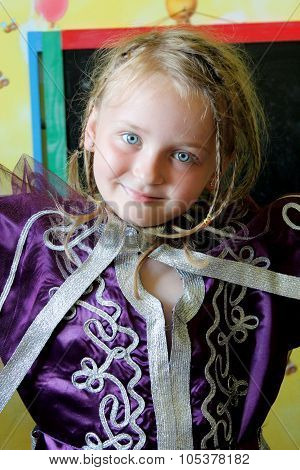 Little Blue-eyed Girl In An Moroccan Suit