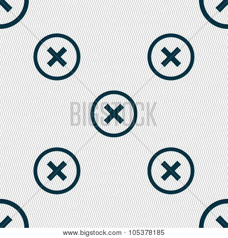 Cancel Icon. No Sign. Seamless Abstract Background With Geometric