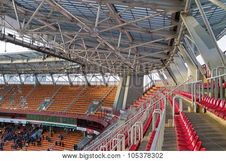 RUSSIA, MOSCOW - NOV 02, 2014: Empty tribunes on football stadium Locomotive at autumn day.